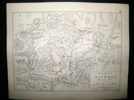 Battle of Vitoria, Spain: 1848 Antique Battle Plan. Johnston